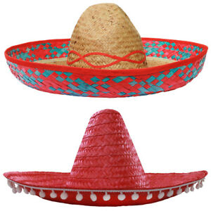 c1536143119 Image is loading RED-SOMBRERO-HAT-MEXICAN-STRAW-ACCESSORY-HOLIDAY-HEN-