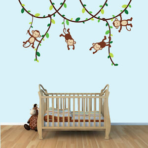 Monkey Vine Wall Decals Jungle Stickers Boys Room Decor And Art - Wall decals jungle