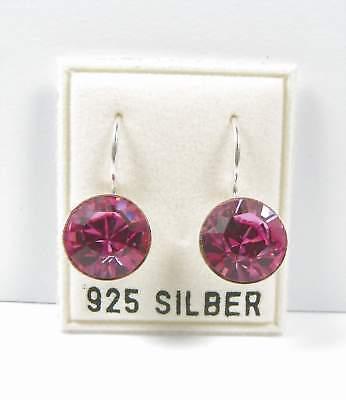 Energico N 925 Argento Orecchini 11mm Swarovski Pietre Rosa/rosa Orecchini-