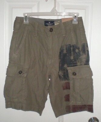 Size 28; 4th July Qualified Nwt American Eagle Classic Green Cargo Shorts W American Flag Shorts