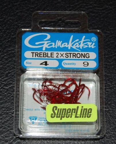 Size 4 9 Pack Gamakatsu 57308 Superline 2x Red Round Bend Treble Hooks