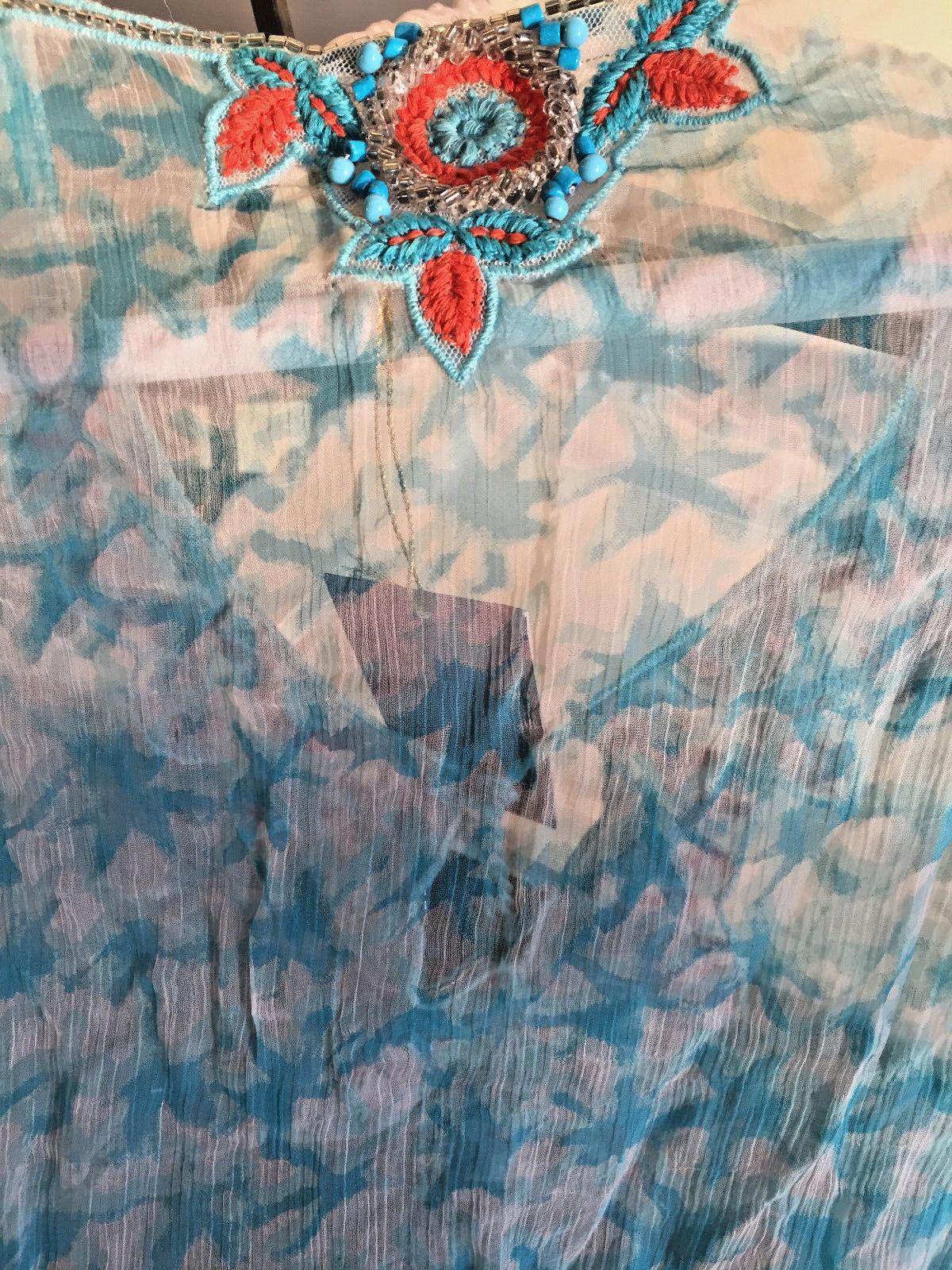 Nuovo W Etichette Amita Naithani, Tintura a Riserva Riserva Riserva Blu & Arancione 31c0a3