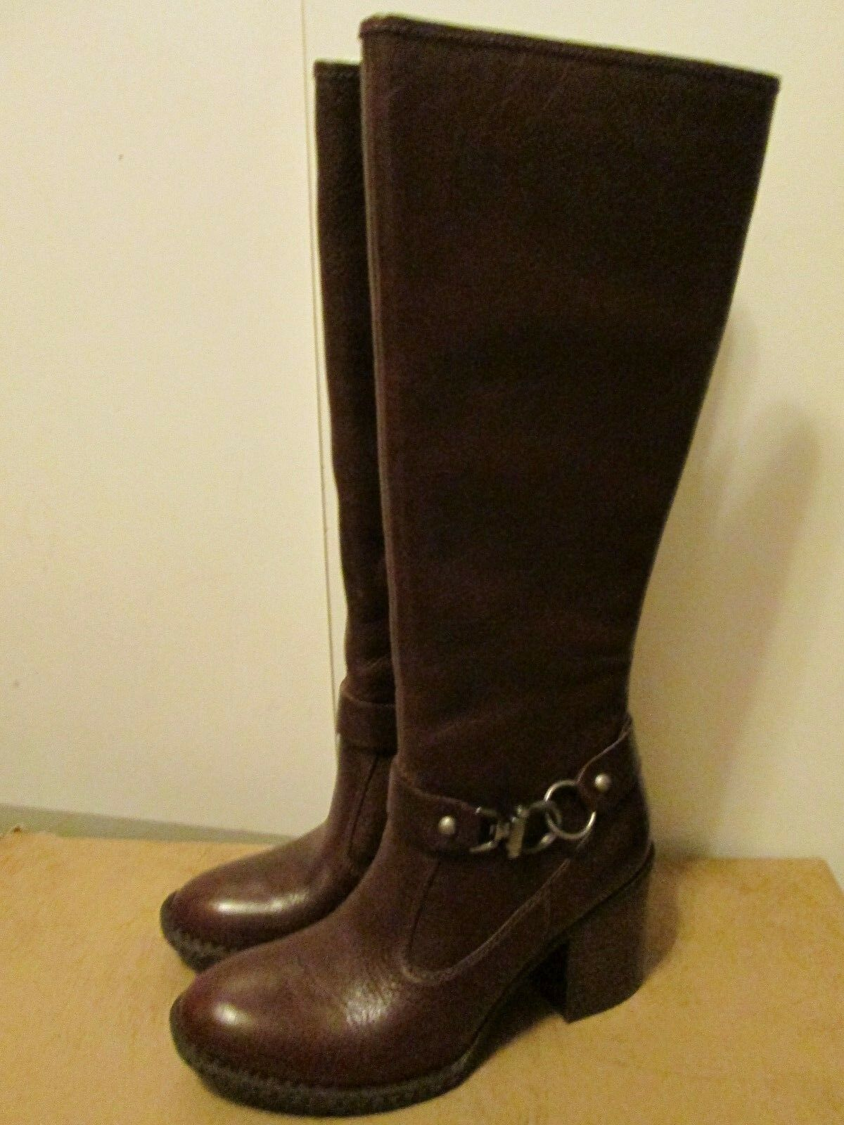 Born Hand Crafted Jacey Cinnamon Brown Leather Knee High High Heel Boots 8.5 NEW
