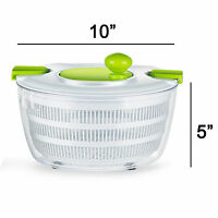 Large Stainless Steel Salad Bowl Salad Spinner Clear Lid Soft Non Slip Knob/base