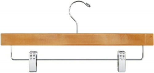 Case of 50 New Retails Natural Oak Finished Wood Pant Hanger 14 Inch