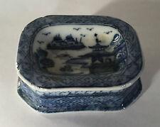 Chinese Export Porcelain Salt Cellar Blue & White Canton 20th c. Soap Dish