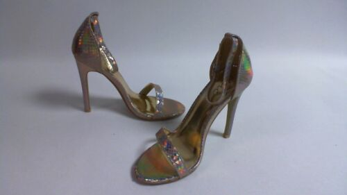 Gold Hologram Snake Chic Womens Ankle Strap Heels UK Sizes 3-8