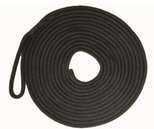 Mooring Rope Black 16 Plait Polyester UV Stabilised 14mm x 8M Dock Line