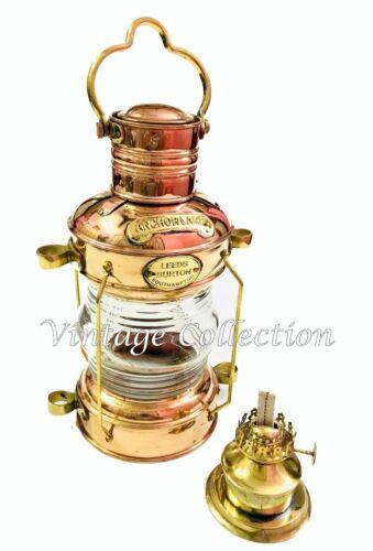 Antique Brass Anchor Oil Lamp Nautical Vintage Maritime Ship Lantern Boat Light