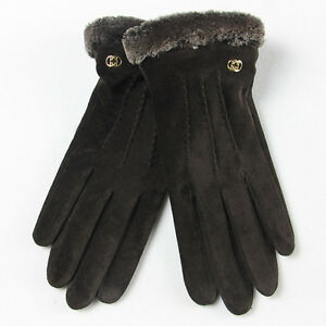 Warmen-Lady-Geniune-Pigskin-Suede-Leather-Winter-Warm-Gloves-Long-Fleece-Lining