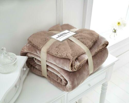 Flannel Sherpa Luxury Throws Super Soft Warm Cosy Sofa /& Bed Blankets All Sizes
