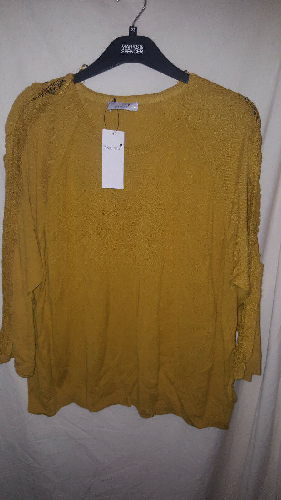 MARKS AND SPENCER gold MUSTARD COLOURED JUMPER NEW WITH TAGS SZ 24 35.00 ON TAGS