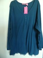 Womens Size 1x Teal Woman Within Knit Top Shirt
