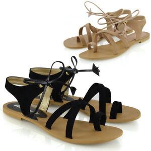 Para-Mujer-Damas-Tie-Up-Gladiador-Sandalias-Planas-Con-Tiras-Verano-Toe-Post-Zapatos-Talla