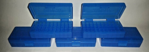 5 BLUE 50 Round 9MM // 380 BERRY/'S PLASTIC AMMO BOXES FREE SHIPPING