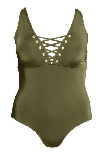 Neu H/&M Badeanzug Bikini Gr.50,Gr.52,Gr.54 khakigrün zu Kleid Urlaub