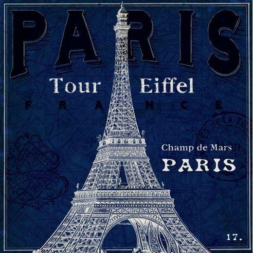 Sue schlabach  bluprint Tour Eiffel telaio-Immagine Tela Monumenti Parigi