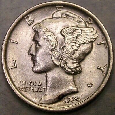 Key date 1924-S Mercury Dime 90/% Silver US Coin