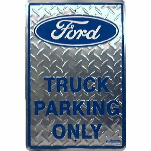Ford Truck Parking Only Diamond Plate Tin Metal Sign