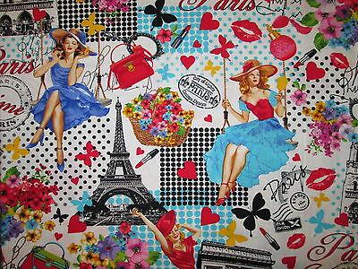 PARIS LANDMARKS CHALK WORDS EIFFEL FASHION COUTRE PINK BLACK COTTON FABRIC FQ