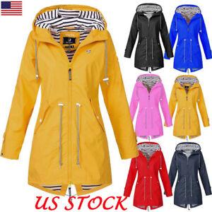 14a24a2a8 Details about Women's Hooded Plain Raincoat Waterproof Windproof Coat  Jacket Casual Outwear US