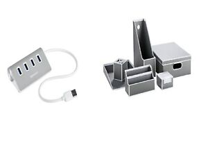 New A Must Have Silvercrest 4 x USB Hub or 6 Piece Office Tidy Stationery Set