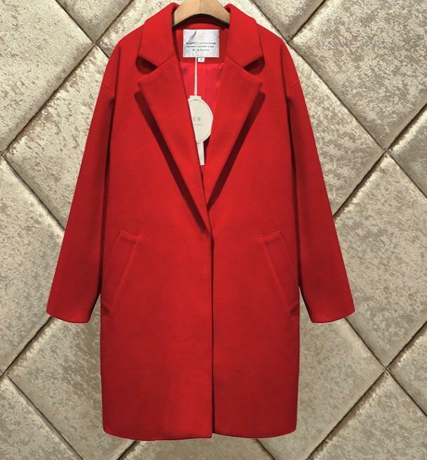 Womens Wool Wool Wool Blend Loose Parka Warm Coats Lapel Overcoat Solid color Fashion D752 ae07c0
