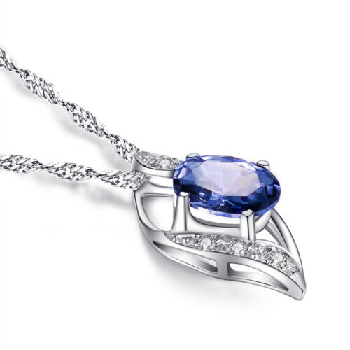 925 Sterling Silver 0.78 Cttw Lab Oval Blue Sapphire Gemstone Necklace Pendant