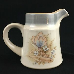 VTG-Creamer-by-Noritake-Autumn-Day-Stoneware-Peach-and-Blue-Floral-8353-Japan