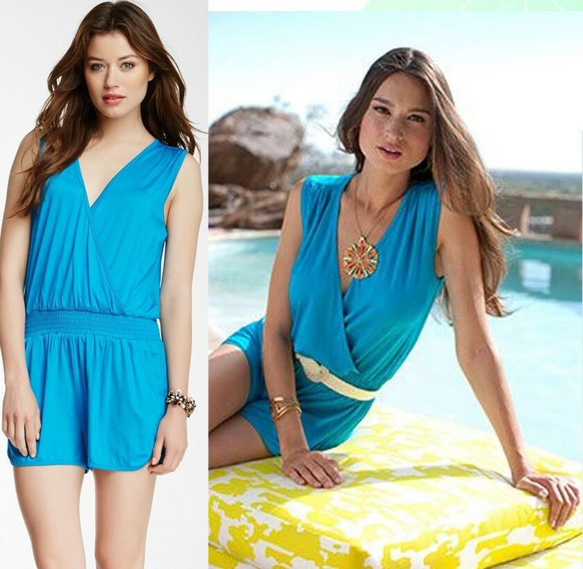 148 Trina Turk Quintessential Pool Party bluee Stretch Jersey Short Romper 12