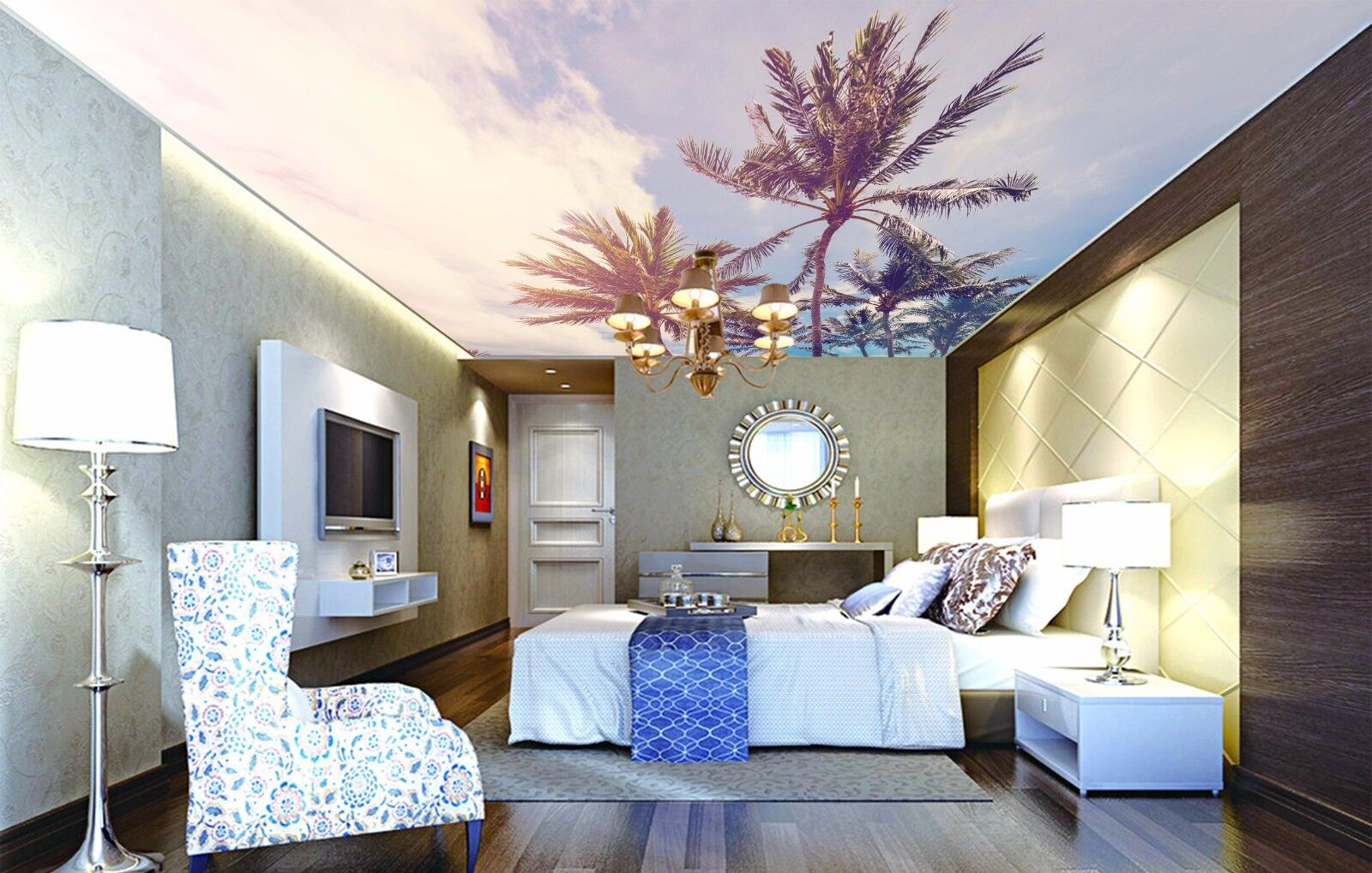 3D Clouds Trees 5 Ceiling WallPaper Murals Wall Print Decal Deco AJ WALLPAPER UK