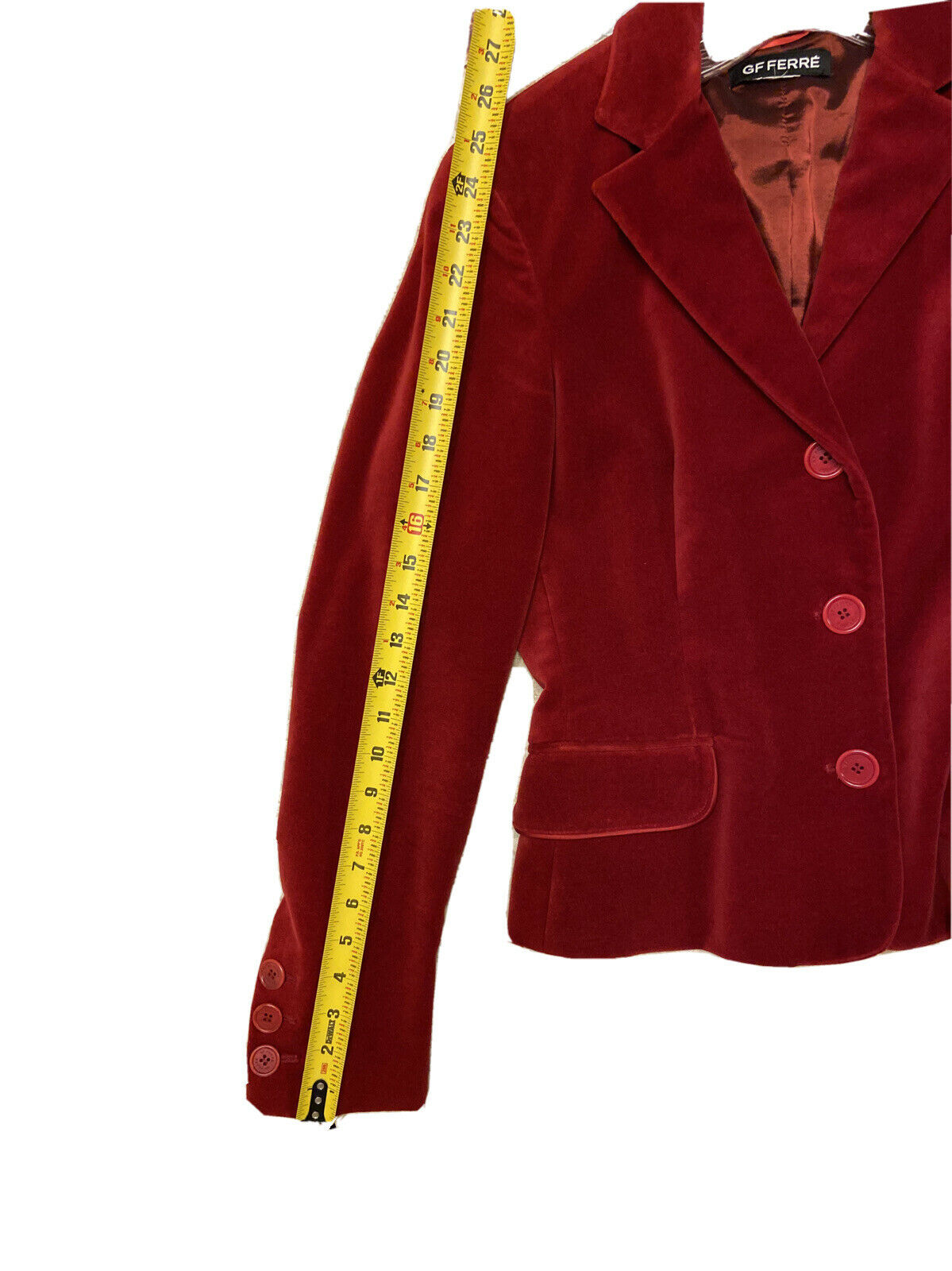GF FERRE Vintage Red Velvet Velour Jacket Blazer … - image 9