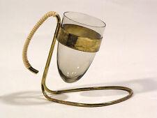 Design der 50er Jahre Rauchglas Vase Anbiete-Glas mit Messing-Halterung