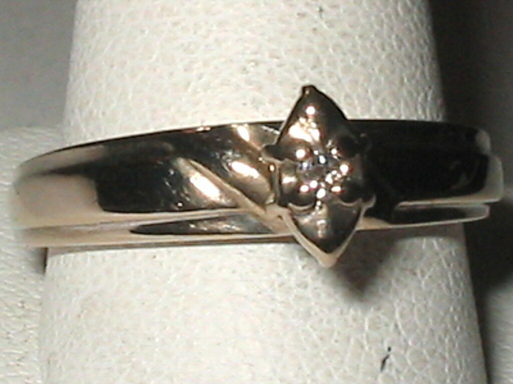 Wedding Engagement STERLING 18K gold TONE DIAMOND .03 CT RING Sz 7.25   MISHA