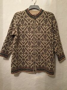 Nordic Size Brown Button Ornate 40 Dale Norway Of Vtg cream Cardigan S 0qzx7p6Wt
