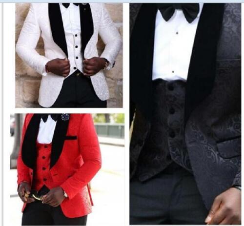Slim Fit Abiti Floreale Rosso Bianco Eleganti Cerimonia Uomo Smoking Nero XqUZwY