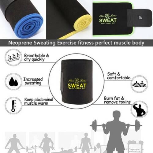 Men Women Slimming Sweat Belt Fat Burner Waist Trainer Trimmer Cincher Shaper UK