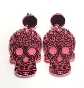 Sugar-Skull-Earrings-Surgical-Steel-Studs-Engraved-Pink-Mirror-Acrylic-Jewellery