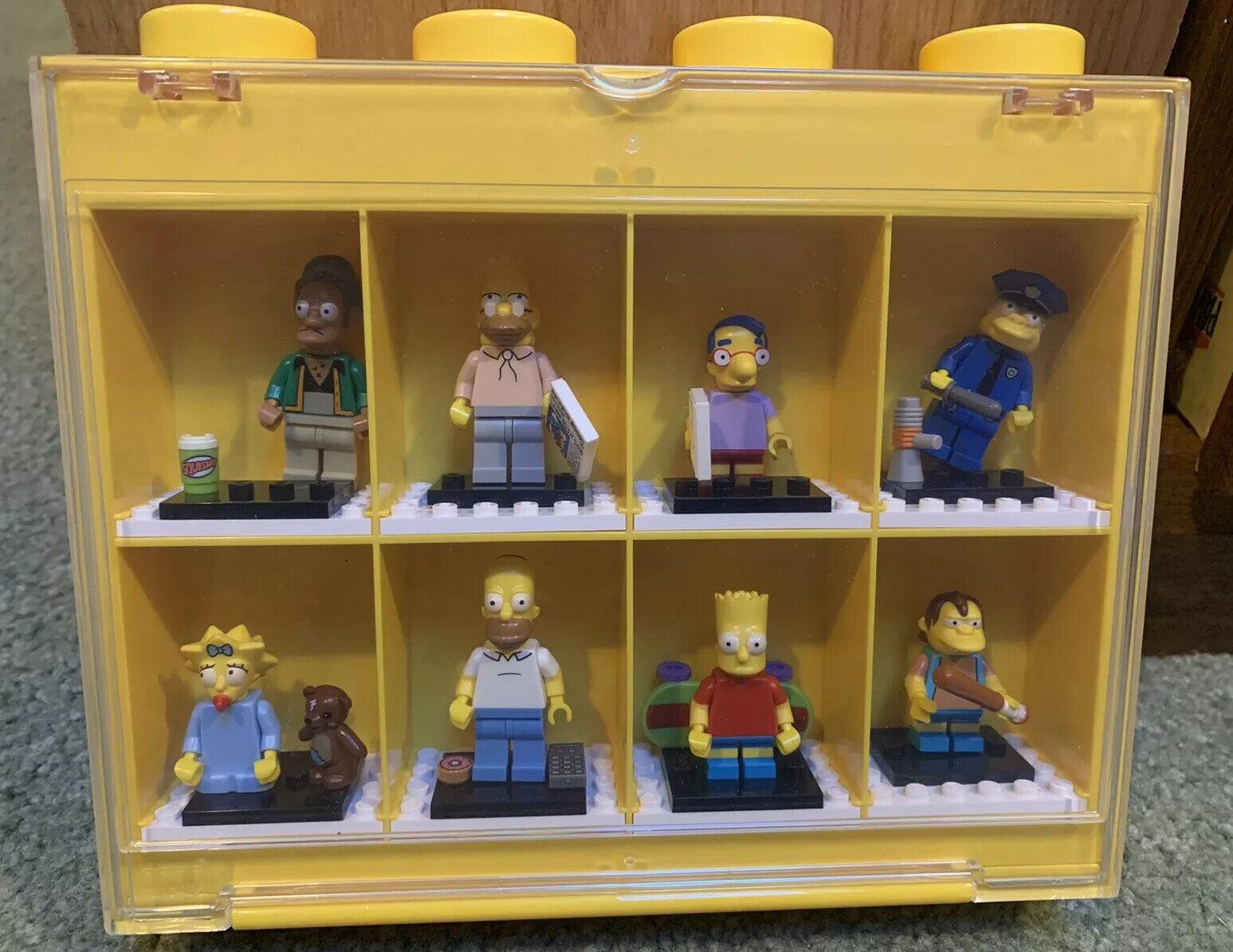 "2011 Big 8"" LEGO SIMPSONS MINIFIGURES SET COMPLETE + Display Case Bart, Homer ++"
