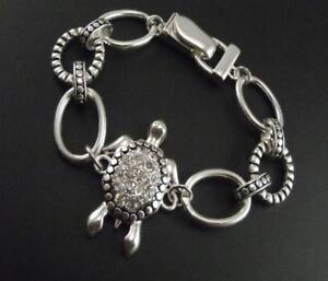 Vintage-style-silver-and-clear-tortoise-turtle-chain-bracelet