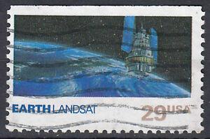 USA-Briefmarke-gestempelt-29c-Earth-Landsat-Sattelit-Weltraum-214
