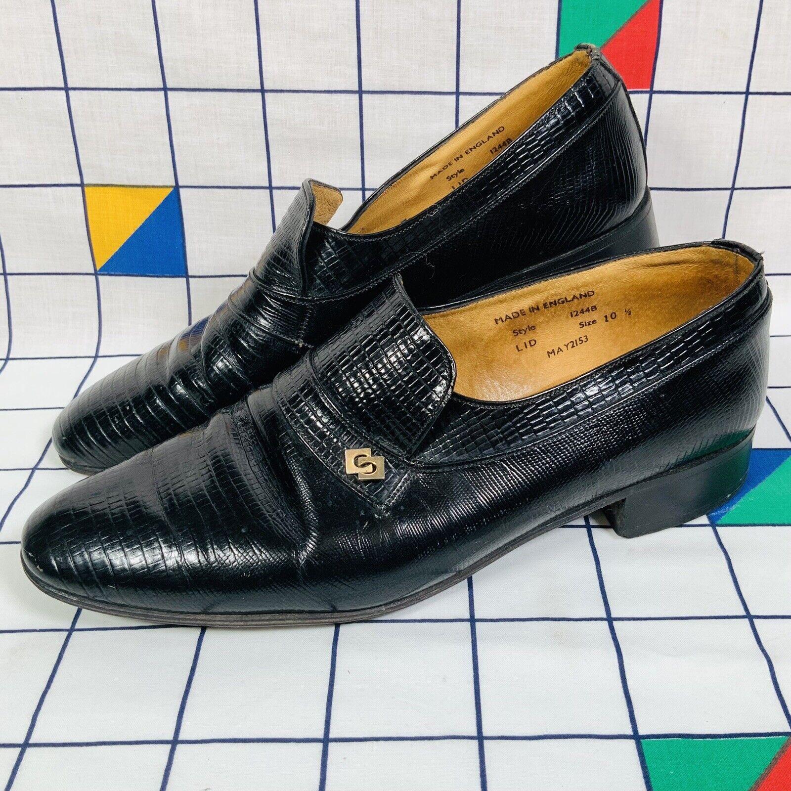 Sanders Horsebite Vintage English Black Leather Shoes Loafers UK Size 10.5