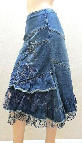 West 36 Denim Blue Jeans Silver Paint Lace Ruffle Metal Beaded Long Skirt 9016