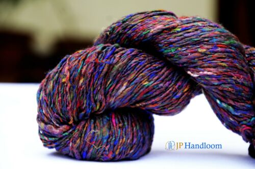 100g Fingering weight 2 Ply Twisted Recycled Sari Sliver Silk Yarn-Multi Color