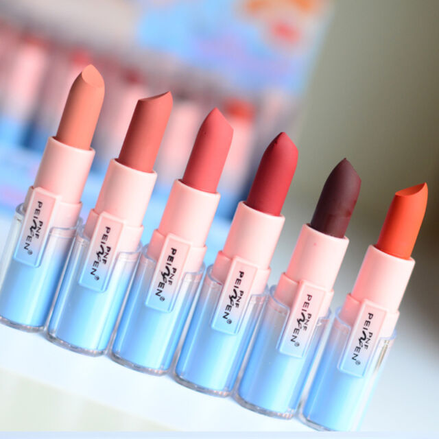 6Pcs Maquillage Crayon à Lèvres Rouge à Lèvres Mat Velours Gloss Durable étanche