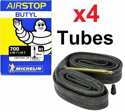 4 Four Michelin Airstop Butyl Road Bicycle Tubes 700x18-23-25 52mm 700c Presta