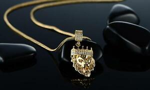 Mens-Stainless-Steel-Necklace-Lion-Head-Pendant-Gold-Tone-Chain-20-034
