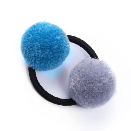 Cute Girls Soft Double Fur Ball  Hair Tie Pom Pom Elastic Hair Band Hair Rope