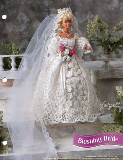 Blushing Bride Gown, Annie's crochet patterns fit Barbie fashion dolls