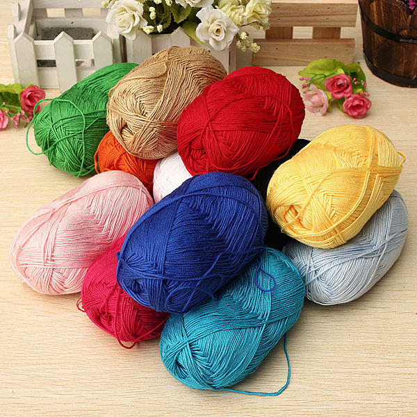 Super Soft Natural Smooth Bamboo Cotton Knitting Cole Yarn Ball 12 Colors 50g